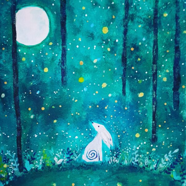 Celestial bunny under the moonlight in a green forest. Willow and Moon