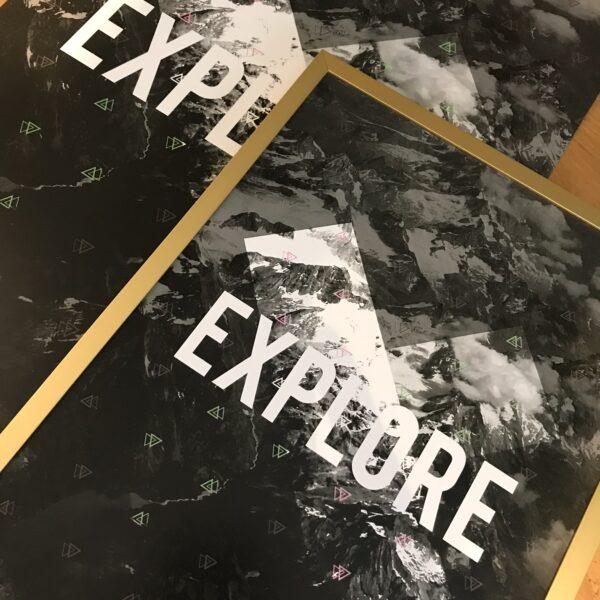 Almond Creative, explore photographic and typography print.
