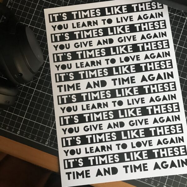 Almond Creative, foo fighters song lyrics art print.