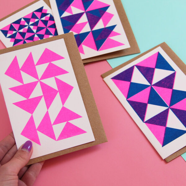 Colourful card pack, Risograph print cards, Abby sumner design