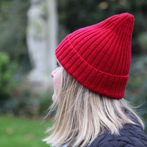 Knit 'Tings red ribbed merino wool fishermen's hat, cousteau hat