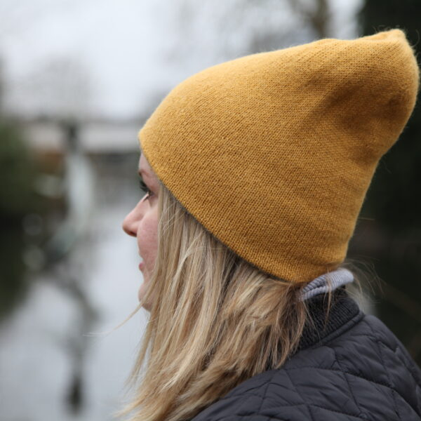 Knit 'Tings mustard yellow and grey reversible alpaca beanie, 2 in 1 hat
