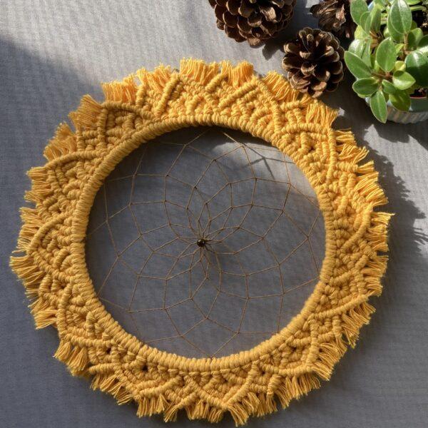 The Crafty Crescent Macrame Mandala Sunflower With Dreamcatcher Web And Tiger Eye Gemstone