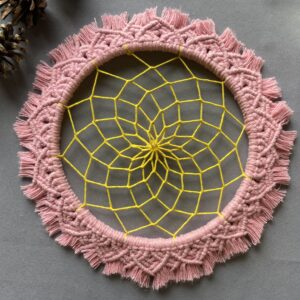 The Crafty Crescent Macrame Mandala Pink Daisy Flower With Handpainted Dreamcatcher Web And Glass Bead