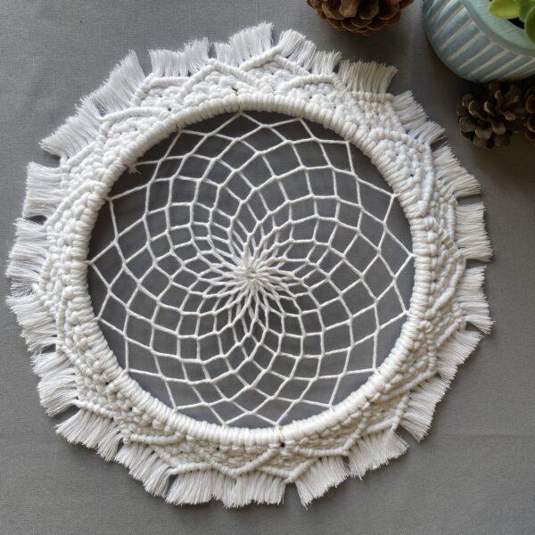 The Crafty Crescent Macrame Mandala Jasmine Flower With Dreamcatcher Web And Glass Bead