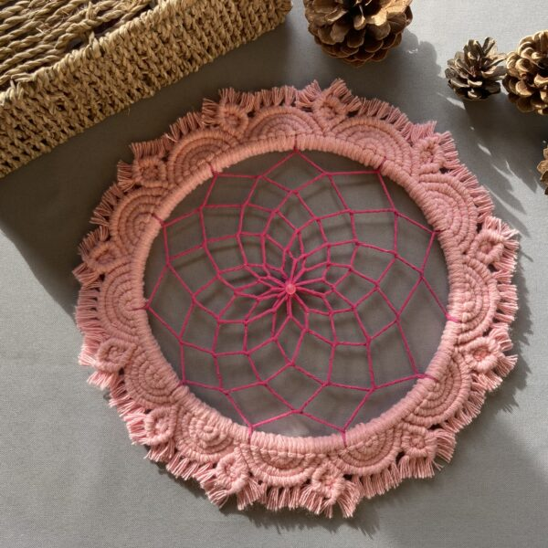 The Crafty Crescent Macrame Mandala Pink Rose Flower With Hand Painted Dreamcatcher Web And Glass Bead