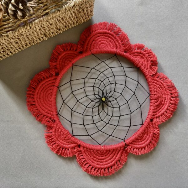 The Crafty Crescent Macrame Mandala Poppy Flower With Dreamcatcher Web And Glass Bead