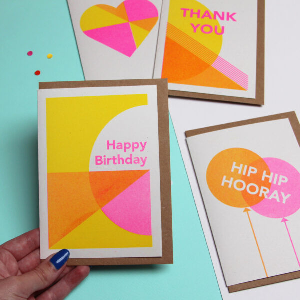 Colourful cards, Happy Birthday Card, Thank You Card, Hip Hip Hooray Card, Heart Love card, Abby Sumner Design