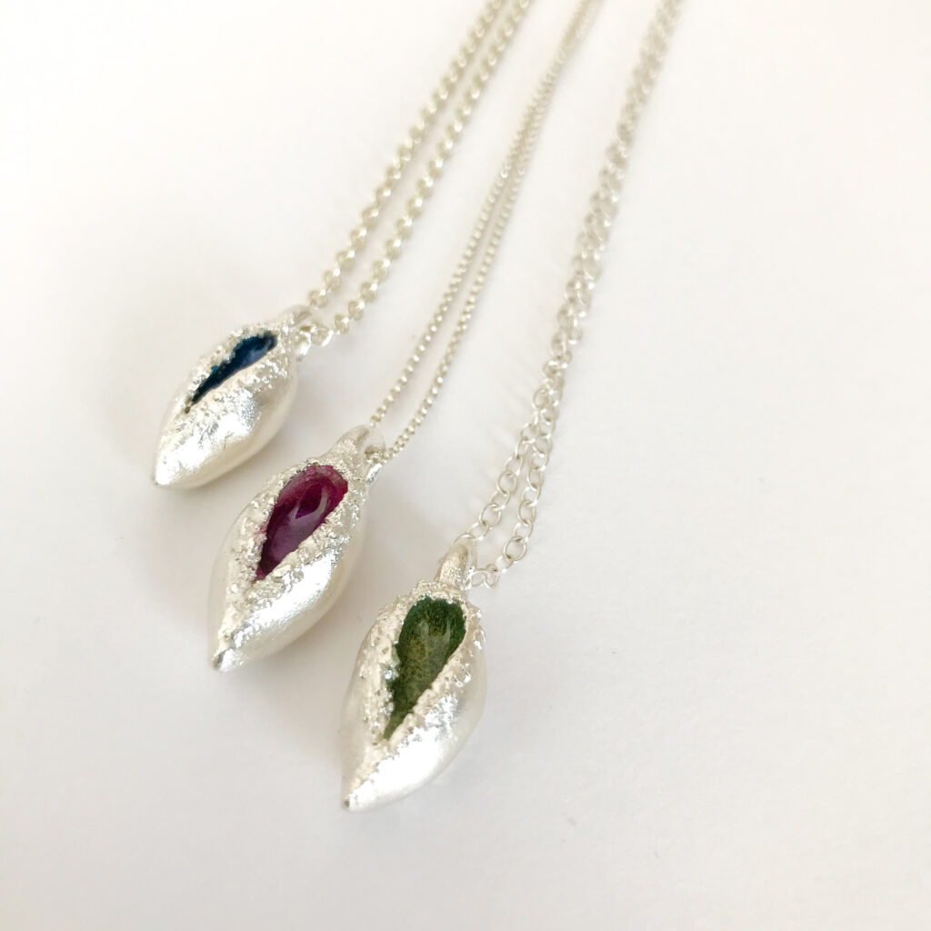 gail ann jewellery,fine silver pod shaped pendants with coloured resin interiors on dainty sterling silver chains