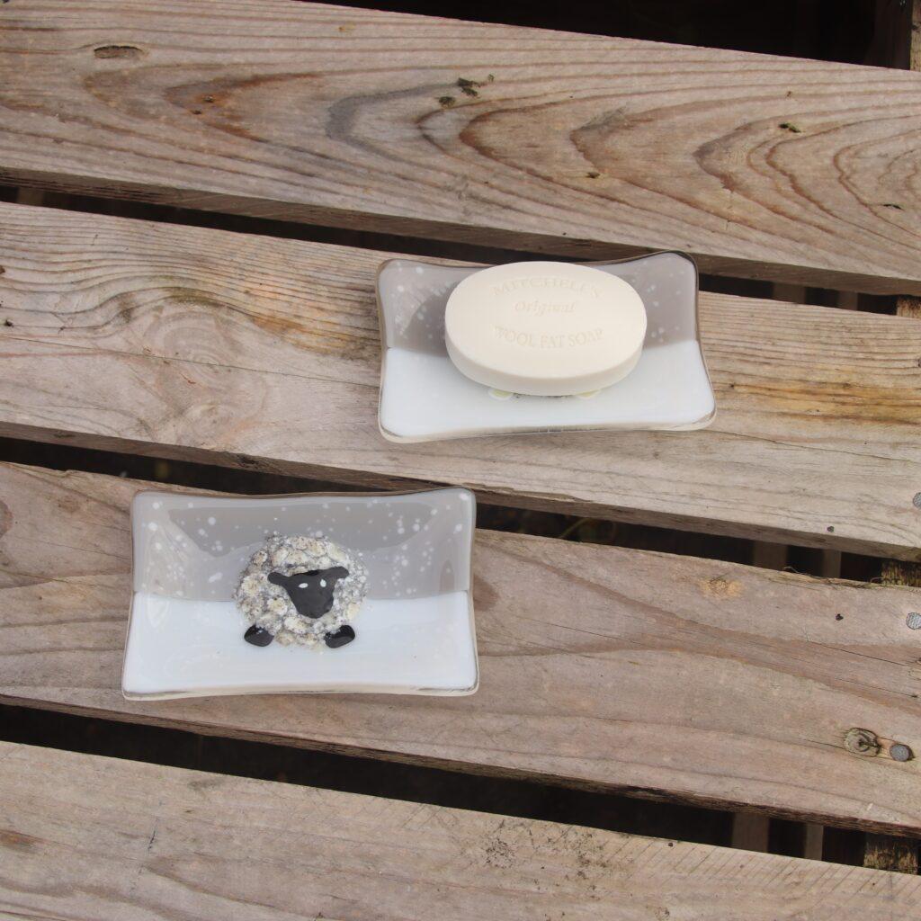 Garage Glass Studio snowy sheep soap dish