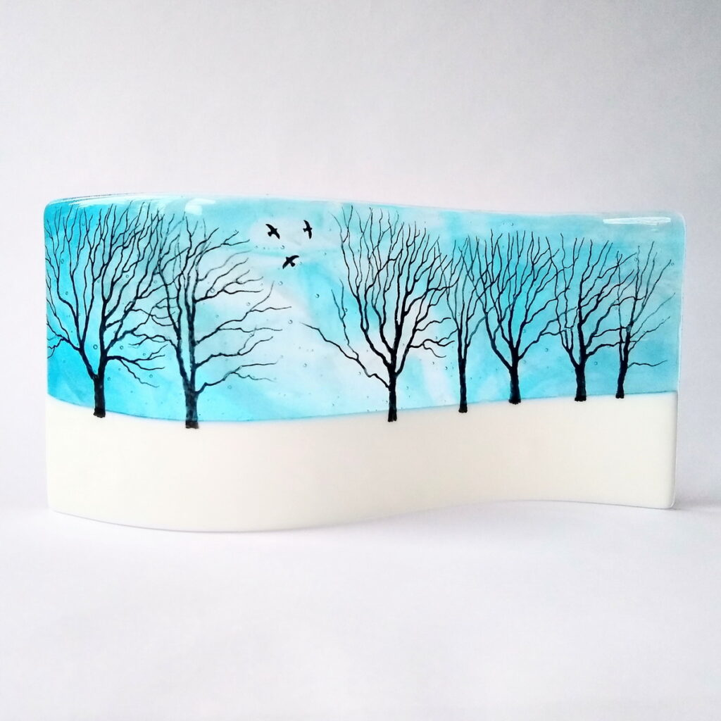 Jewel Glass Snowy Trees wave