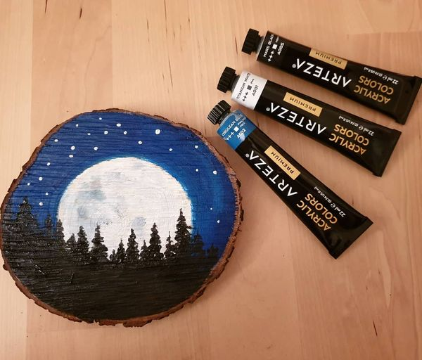 Mystical moonlight wood painting. Acrylic artwork. Beautiful blue starry night background with a huge full moon and trees in the front. Willow and Moon