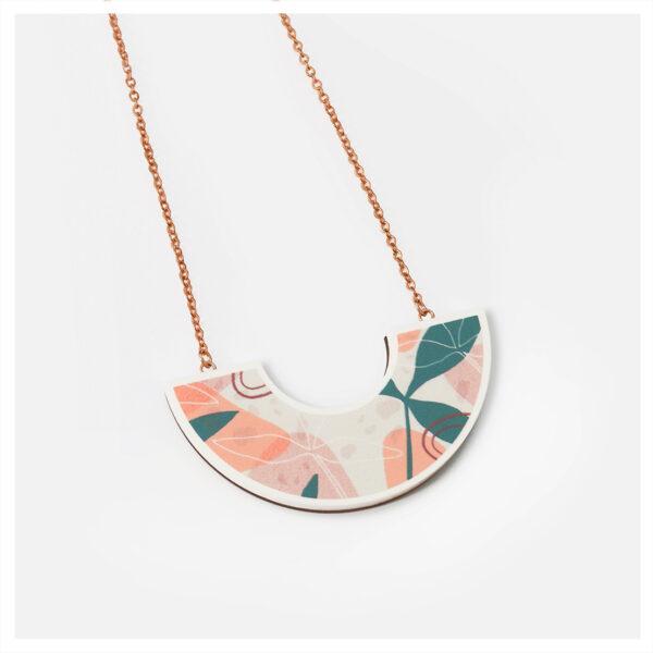 Larka_Mini_Sofia_Pendant_Abstract_Floral_pattern_acrylic jewellery_rose gold