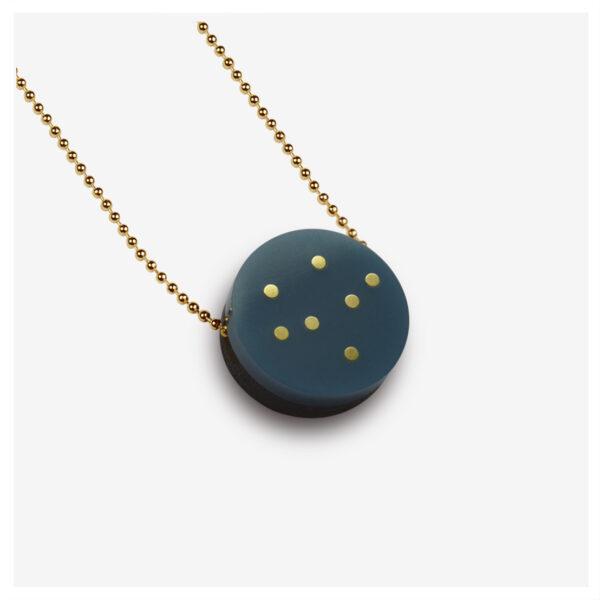Larka_Stella_necklace_Navy_Acrylic_Brass_Inlay_Dots