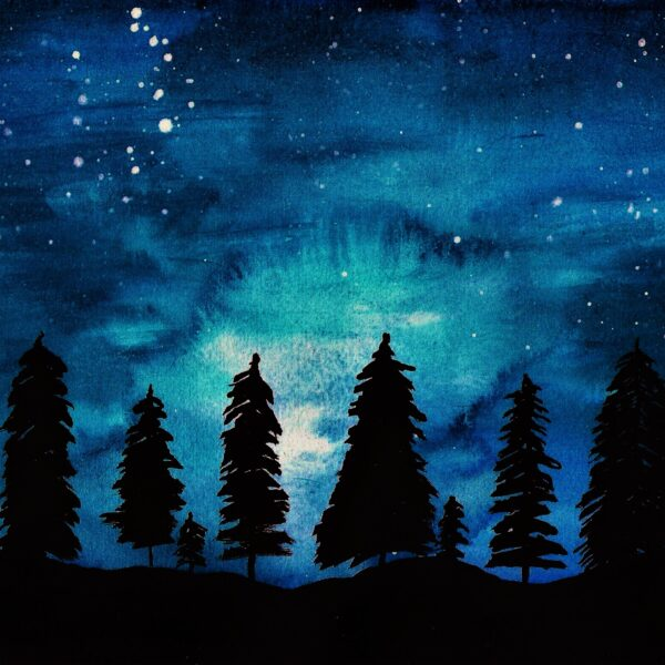 """Beautiful blue watercolour painting entitlted """"Midnight skies"""". Deep blue background with stars for starry night, black trees in the foreground. Beautiful watercolour painting. Willow and Moon"""