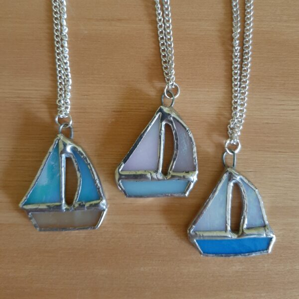 mini stained glass boat necklace on silver plated chain