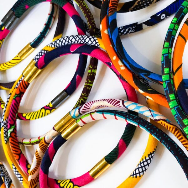 A selection of multi-way rope necklaces made using African wax print fabrics. Pattern Punch.
