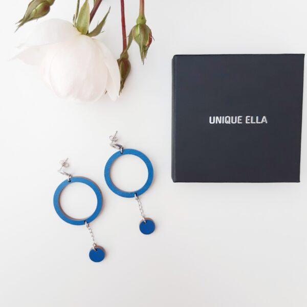 Oona Wooden Earrings in Blue Unique Ella Sustainable Jewellery