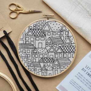 Thimble and Fabric Let's Stay Home DIY Hand Embroidery Kit for Beginners