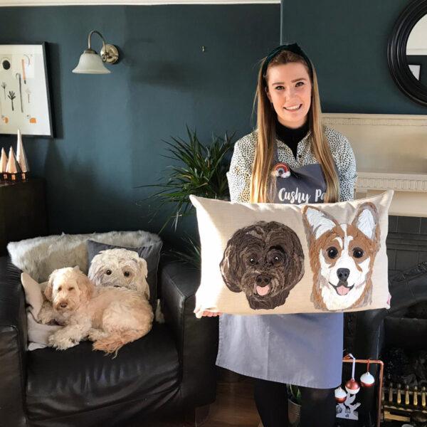 Pet Portrait Cushion double portrait