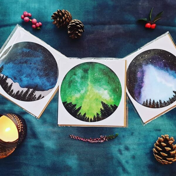Beautiful set of three forest-moon themed greeting cards. Square cards. Perfect for any occasion. A pack of three costs £5. Moon cards. Moon greeting cards. Forest greeting cards. Willow and Moon