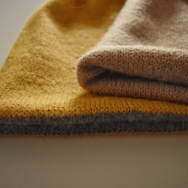 Knit 'Tings mustard yellow and grey reversible alpaca beanie, 2 in 1 hat, camel and light beige reversible alpaca beanie