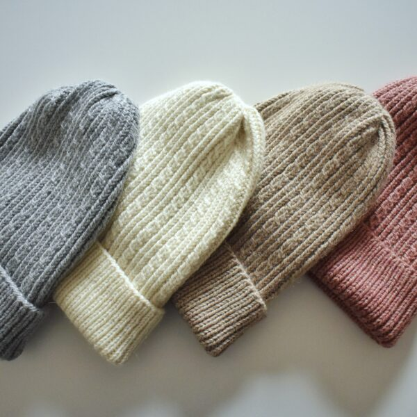 Knit 'Tings Alpaca Wool Slouchy Beanie, four hats in grey, off white, beige and dusty pink