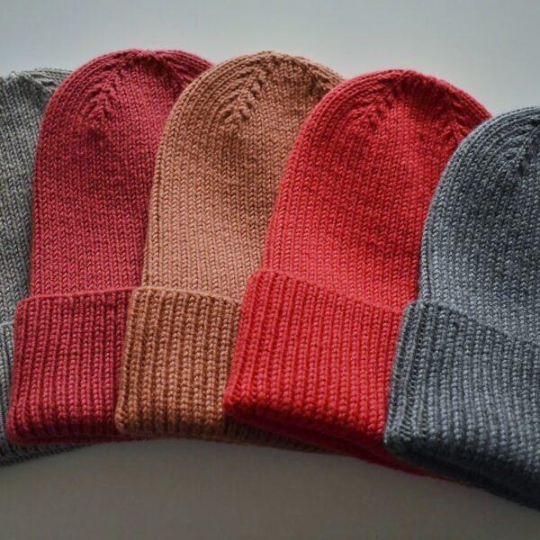 Knit 'Tings five ribbed cuffed merino wool beanies, red beanie, dark rose beanie, grey beanie, beige beanie and terracotta beanie