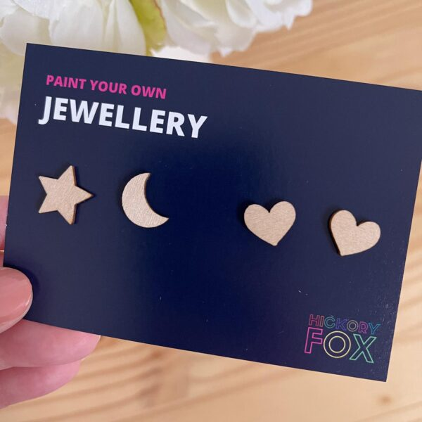 Heart, Moon and Star Paint your own Earrings
