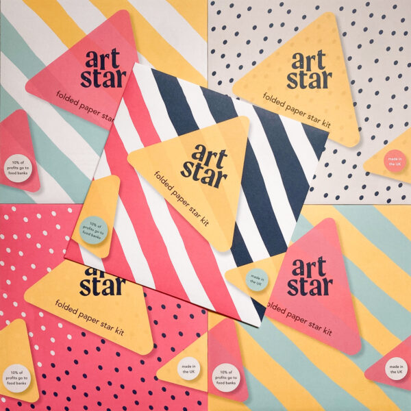 Art Star folded paper star kits assorted packaging with stripes and spots