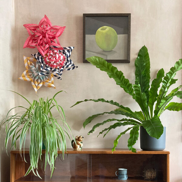Art Star folded paper star kits above a sideboard with plants