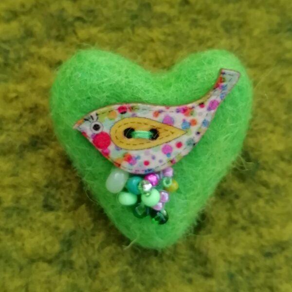 Ann Smith Art, bright green wool felt heart bird brooches