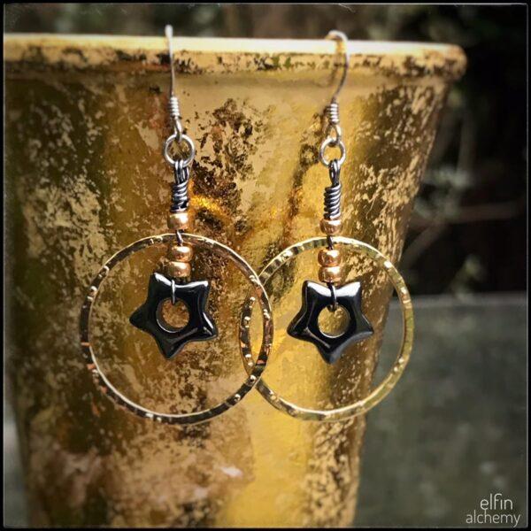 elfin alchemy gemstone star hoop earrings