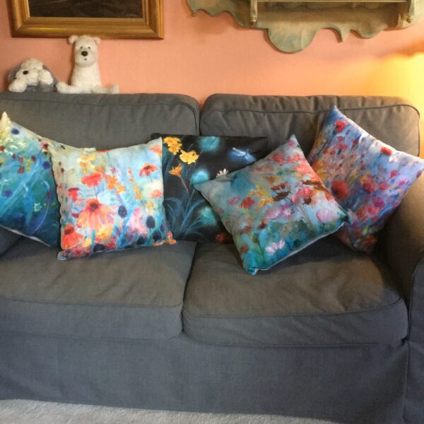 Kate Van Suddese Artist, Luxury cushions flower design