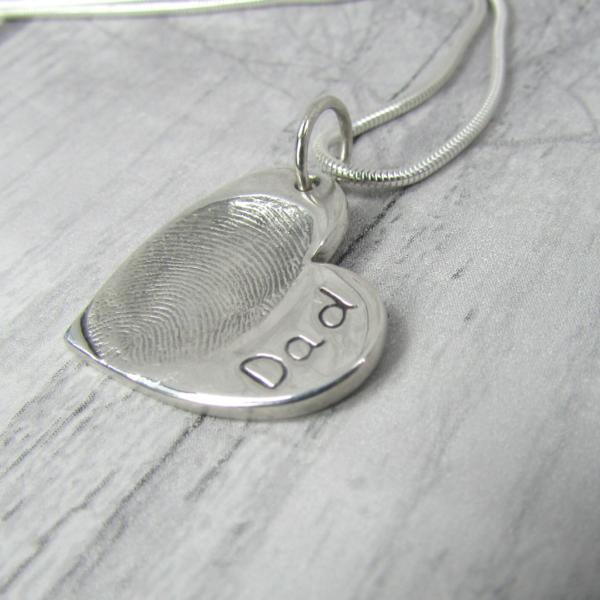 fingerprint heart charm chain