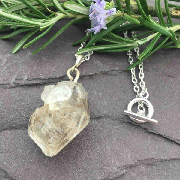 Sharon Mckinley Designs, Herkimer Diamond Quartz necklace on a sliver plated chain