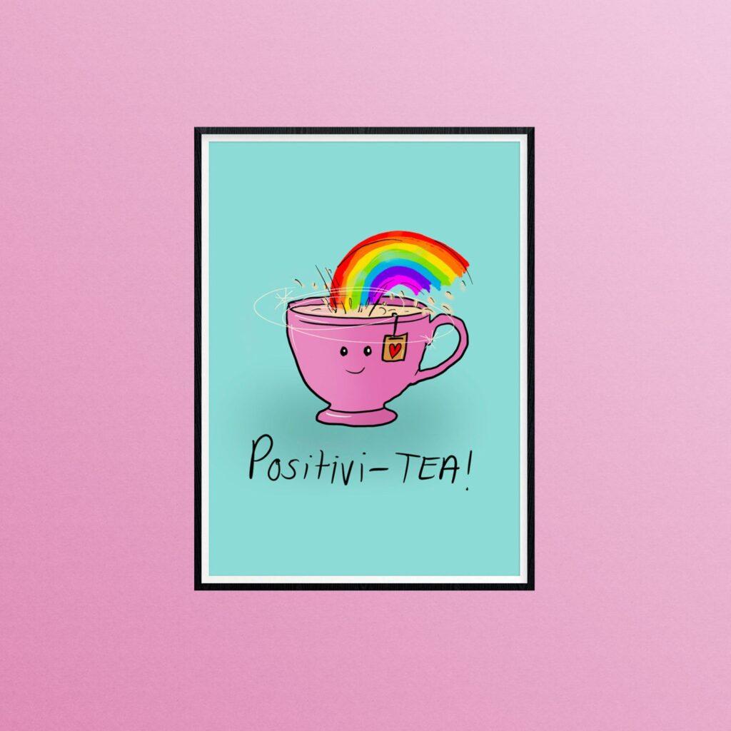 positivity tea rainbow print, just daydreaming