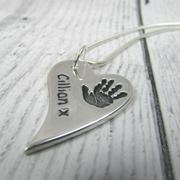 true love keepsakes, slanted heart handprint charm chain attached to an 18 inch snake chain personalised with a name