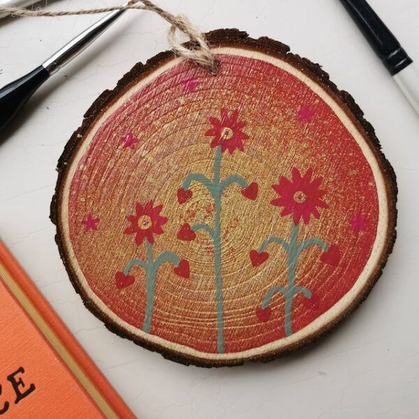 Fallow Moon, wood slice art. Pedddle.