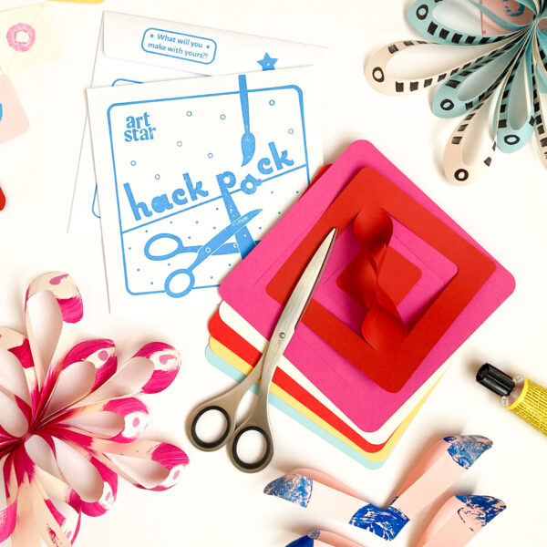 Art Star Hack Pack Freestyle Paper Craft Kit with scissors, glue and painted paper decorations