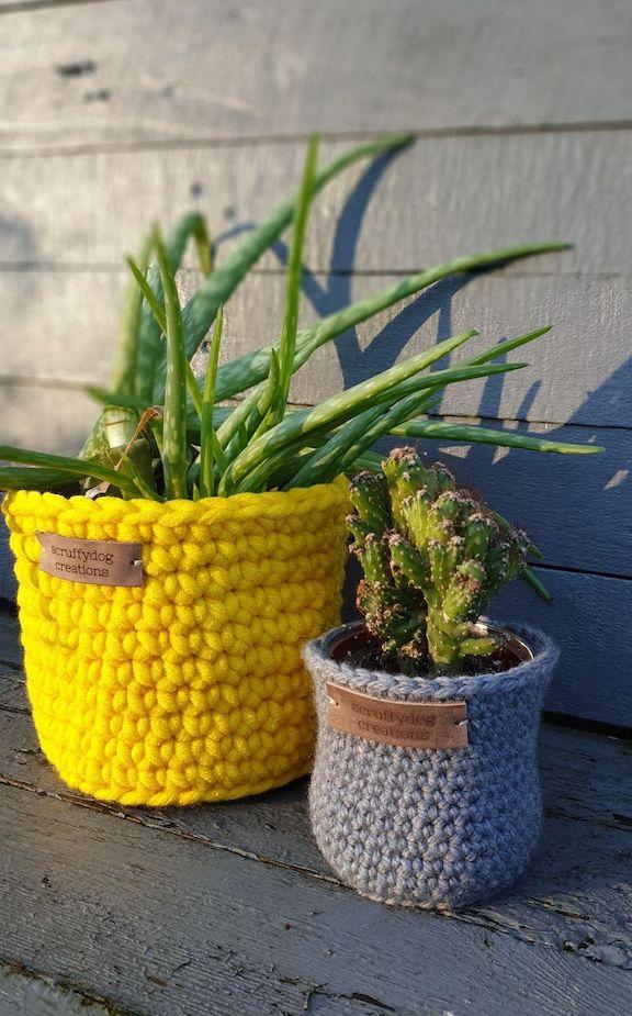 Scruffy Dog Creations, Handmade, Crochet plant pots