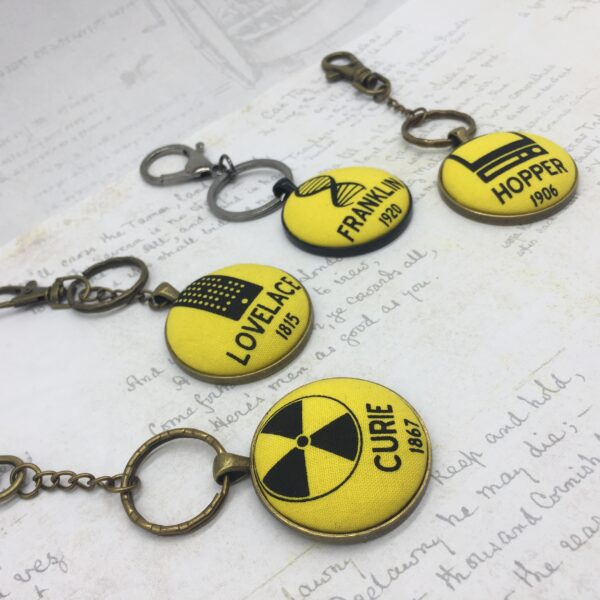 Women Science heroes fabric button keyrings by Bowerbird Jewellery
