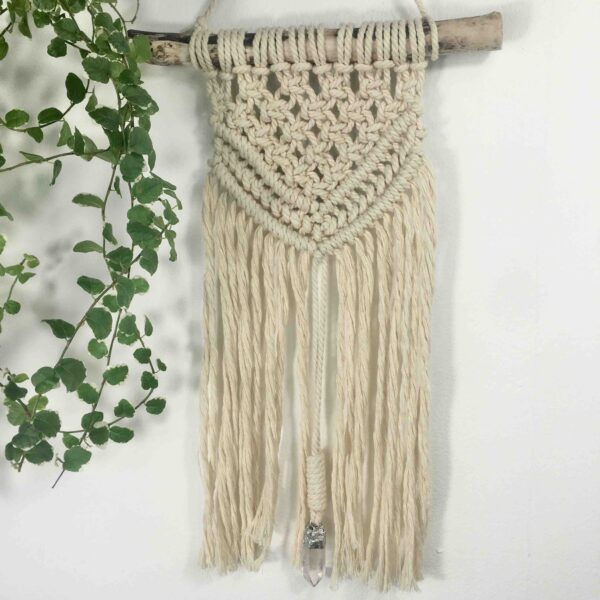 Sharon Mckinley Designs, Macrame Wall hanging with Quartz Crystal centre piece