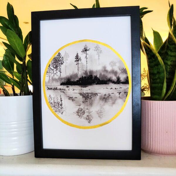 Misty landscape, black white and gold art