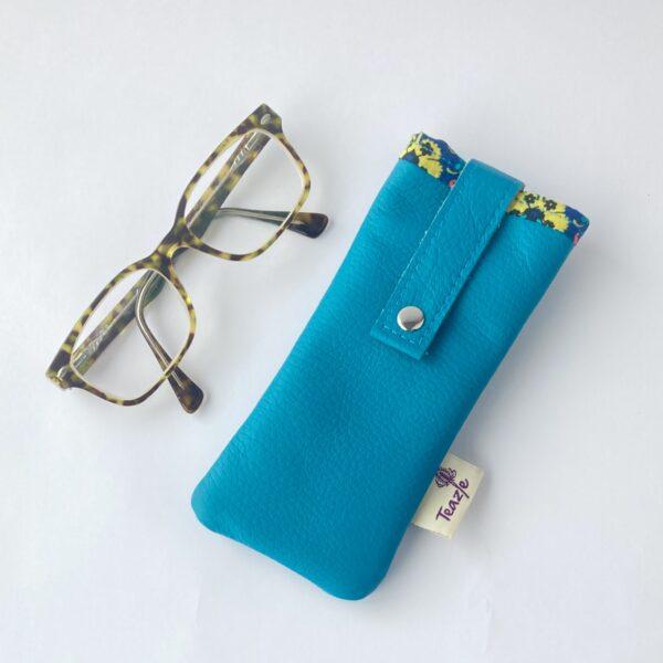 Teazle Handmade Turquoise leather and liberty glasses case