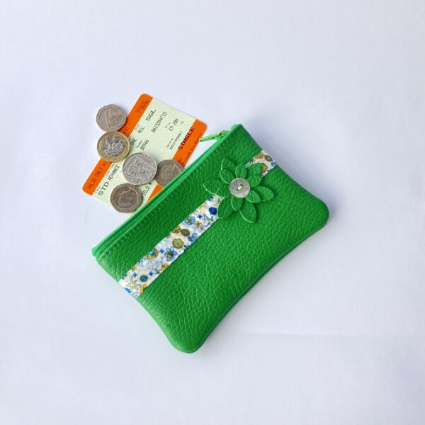 Teazle Handmade Green leather and liberty purse