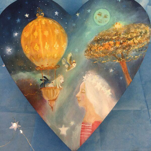 Kate Van Suddese Artist, hand painted heart on canvas