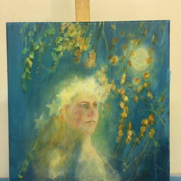 Kate Van Suddese Artist, original painting moon girl