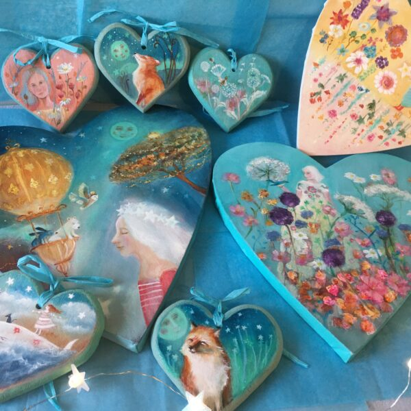 Kate Van Suddese Artist, painted hearts, hand painted original gifts