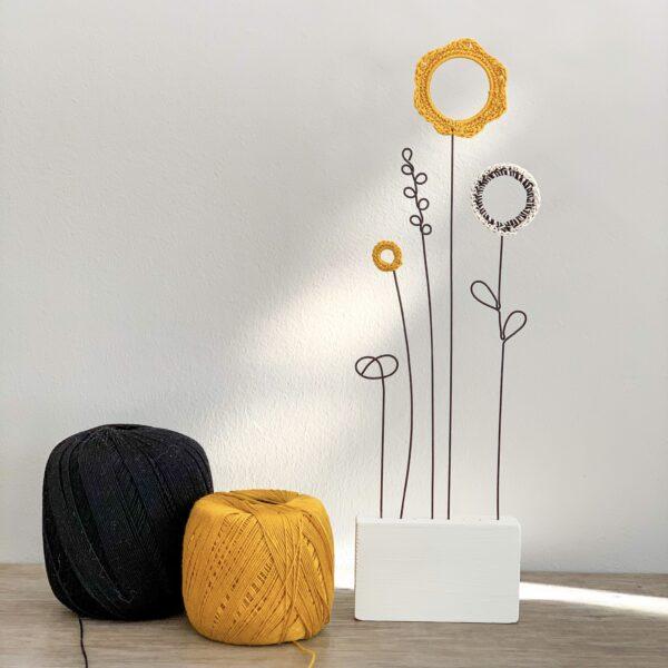 Sakarma Letterbox Flowers - Mustard and Black - Alison Chopra